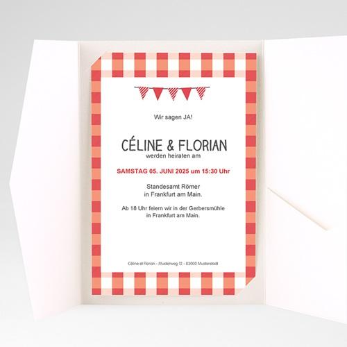 Hochzeitskarten Querformat - Ambiente Vichy 36927 test