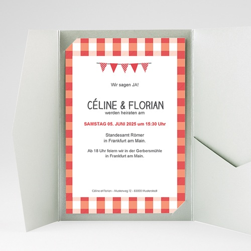 Hochzeitskarten Querformat - Ambiente Vichy 36928 test