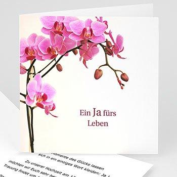 Hochzeitskarten ohne Foto Orchidee klassisch