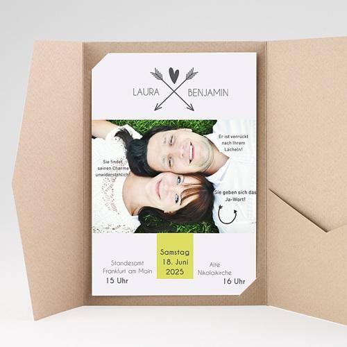 Hochzeitskarten Querformat - Liebespfeil 37082 test