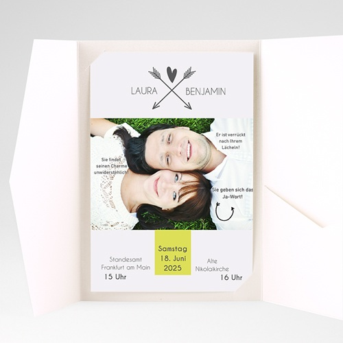 Hochzeitskarten Querformat - Liebespfeil 37083 test