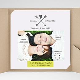 Hochzeitskarten Quadratisch - Liebespfeil - 0