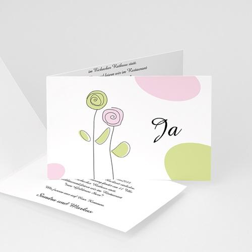 Hochzeitseinladungen modern - Blumen in Pastell 3716