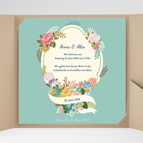 Hochzeitskarten Quadratisch - Vintage Romantik 37358 test