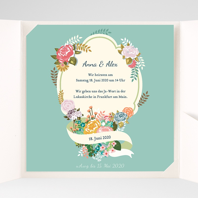 Hochzeitskarten Quadratisch - Vintage Romantik 37359 thumb