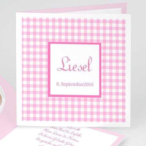 Geburtskarten für Mädchen - Vichy rosa 3744