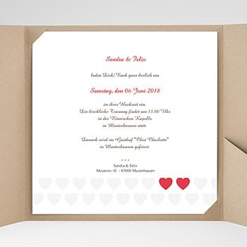 Hochzeitskarten Quadratisch - Zwei Herzen - 0