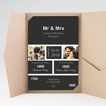 Hochzeitskarten Querformat - Mr & Mrs - 0