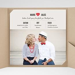 Hochzeitskarten Quadratisch - Vintage Rot - 0