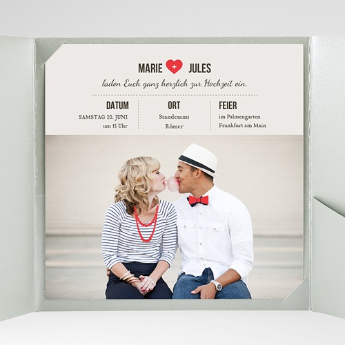 Hochzeitskarten Quadratisch - Vintage Rot 37522 test