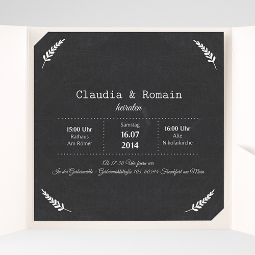 Hochzeitskarten Quadratisch Tafelstil pas cher