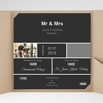 Hochzeitskarten Quadratisch - Mr & Mrs - 0
