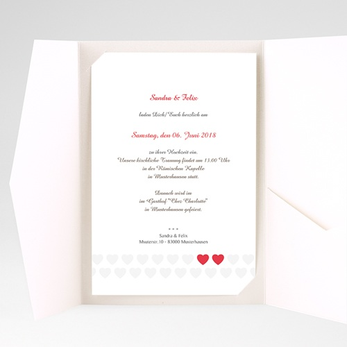 Hochzeitskarten Querformat Doppelherz pas cher