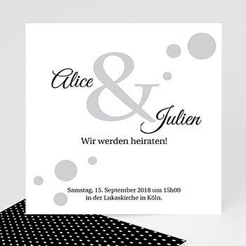 Hochzeitseinladungen Schwarz-Weiß - Confetti 1 - 0