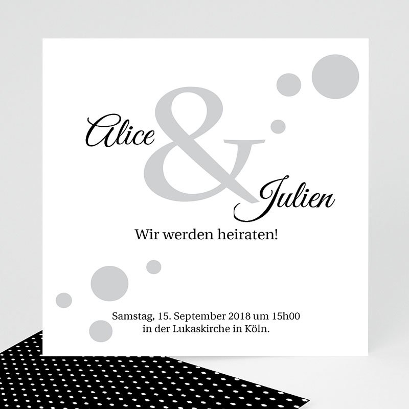 Schwarz-Weiß Hochzeitseinladungen Traumhaft elegant