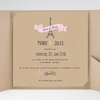 Hochzeitskarten Quadratisch - Love in Paris - 0