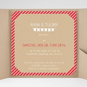 Hochzeitskarten Quadratisch - Gestreift - 0