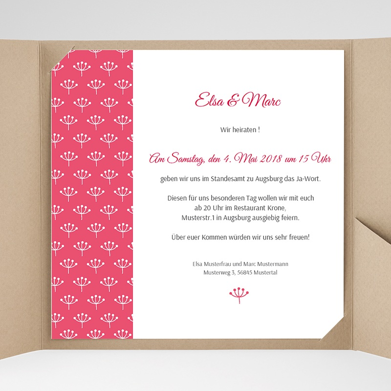 Hochzeitskarten Quadratisch Himbeerfarben