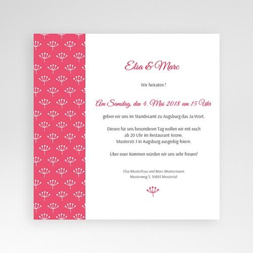 Hochzeitskarten Quadratisch - Himbeerfarben 38252 test