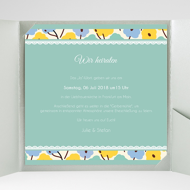 Hochzeitskarten Quadratisch Blumendeko gratuit