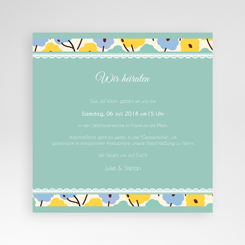 Hochzeitskarten Quadratisch Blumendeko