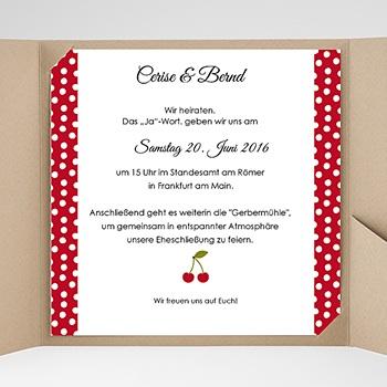 Hochzeitskarten Quadratisch - Rote Kirschen - 0