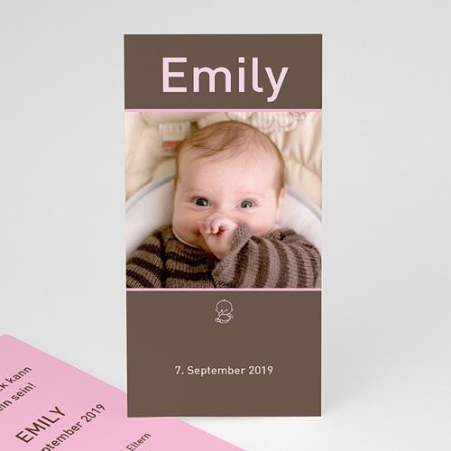 Geburtskarten für Mädchen - Portrait braun rosa 3872