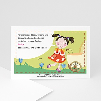 Dankeskarten Geburt Mädchen - Kindergeburtstag Jana - 1