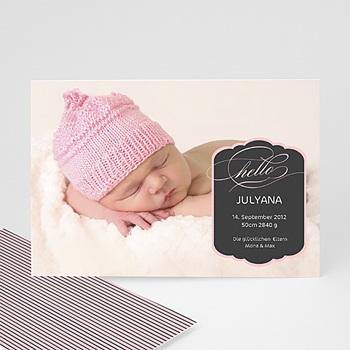 Geburtskarten für Mädchen - Babykarte Pink - 1