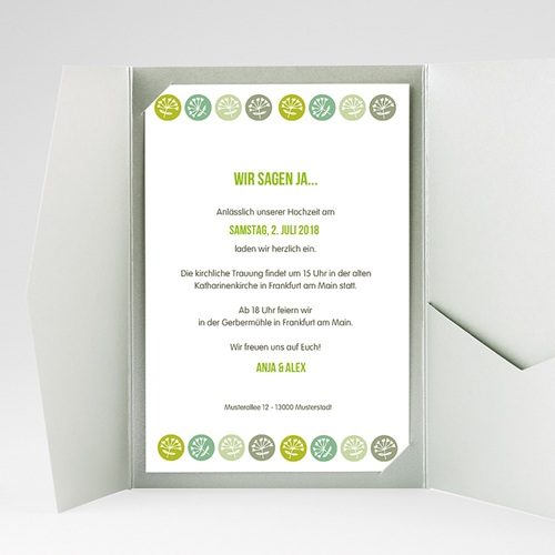 Hochzeitskarten Querformat - Green Wedding 39543 test