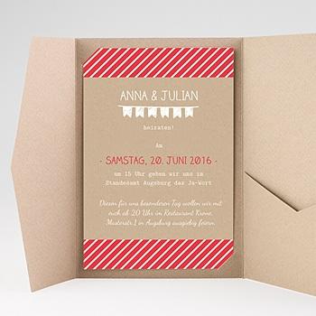 Hochzeitskarten Querformat - Gestreift - 0