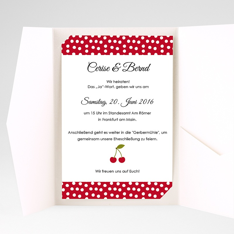 Hochzeitskarten Querformat Kirschernte pas cher