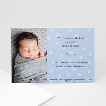 Dankeskarten Geburt Jungen - Blaue Fotokarte mit Punktmuster - 1