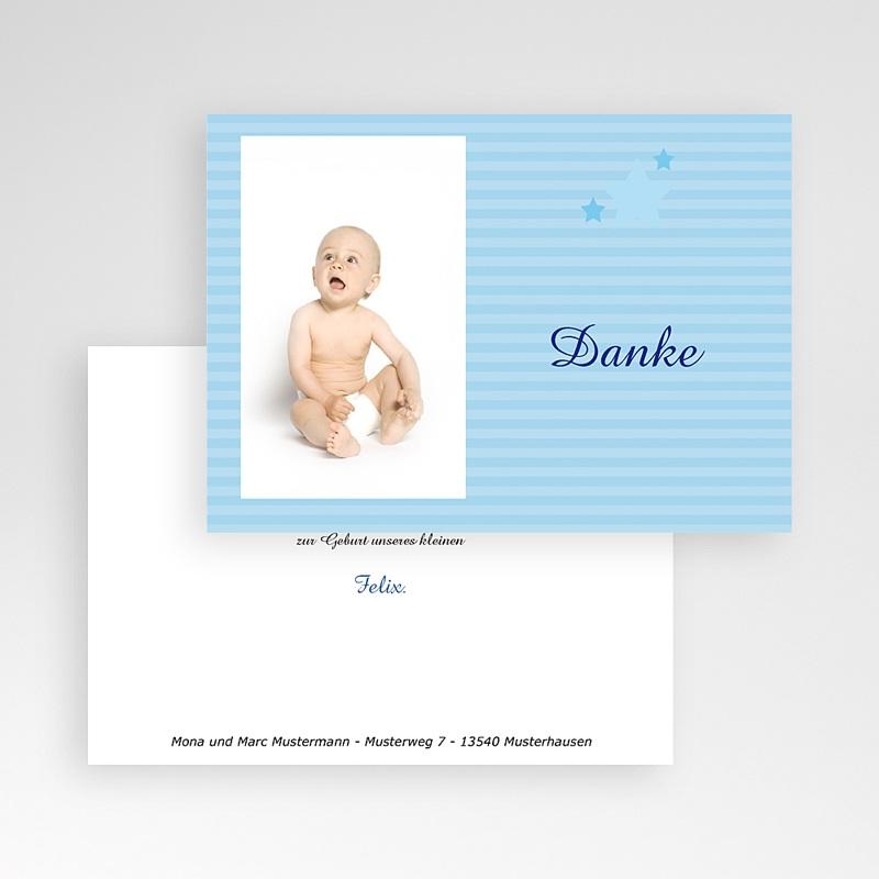 Dankeskarten Geburt Jungen Kleiner blauer Stern pas cher