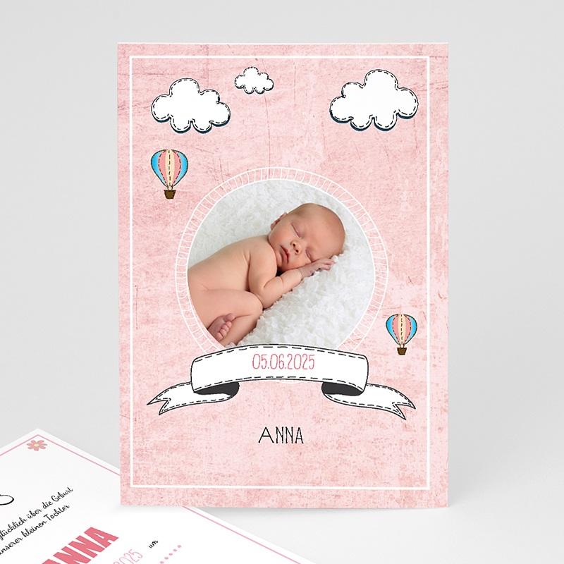 Geburtskarten für Mädchen Heißluftballon Rose