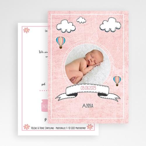 Geburtskarten für Mädchen Heißluftballon Rose gratuit