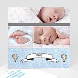 Danksagungskarten Geburt Ballonfahrt