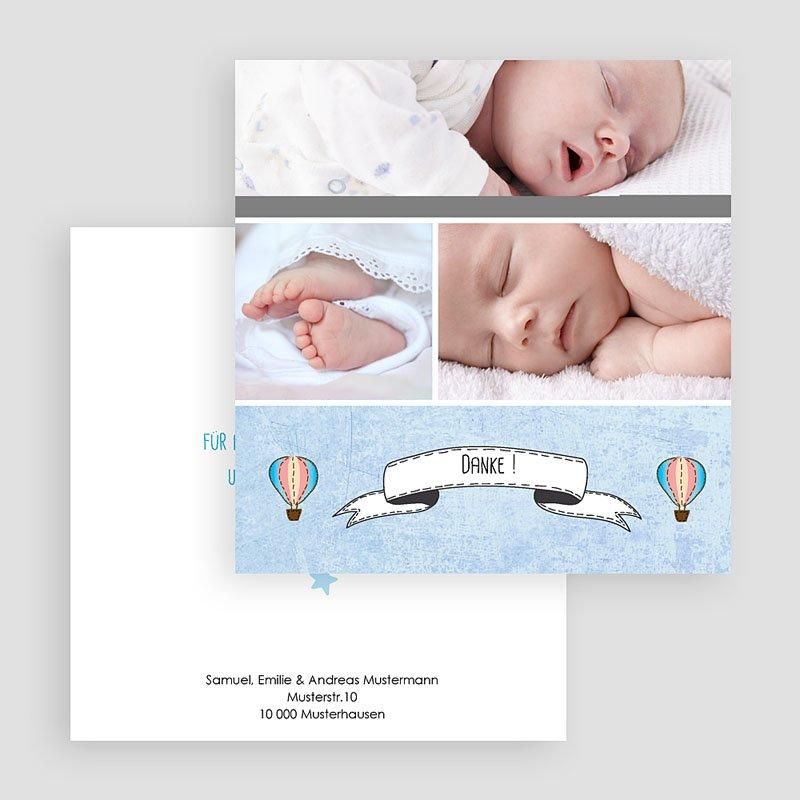 Dankeskarten Geburt für Jungen Ballonfahrt gratuit