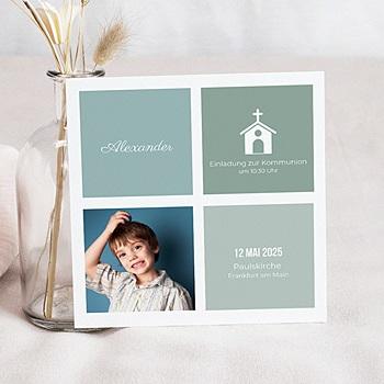 Einladungskarten Kommunion Jungen - Kirche blau - 0