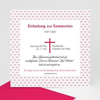 Einladungskarten Kommunion Mädchen Rosa Kreuz