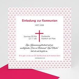 Einladungskarten Kommunion Mädchen - Rosa Kreuz - 0