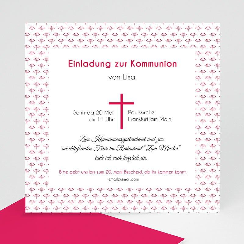 Einladungskarten Kommunion fur Mädchen Rosa Kreuz