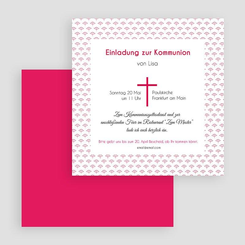 Einladungskarten Kommunion fur Mädchen Rosa Kreuz gratuit