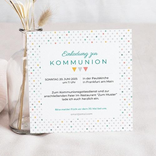 Einladungskarten Kommunion Jungen - Bunte Fähnchen 40512