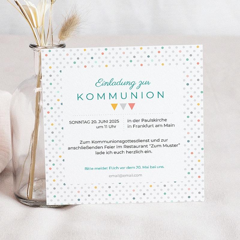 Einladungskarten Kommunion Jungen - Bunte Fähnchen 40512 thumb