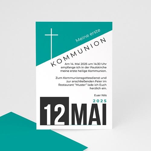 Einladungskarten Kommunion Jungen - Design Kreuz 40530