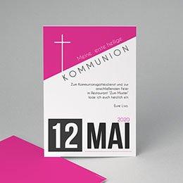 Einladungskarten Kommunion Mädchen - Typo Pink - 0