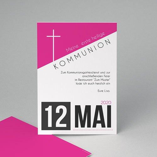 Einladungskarten Kommunion Mädchen - Typo Pink 40542
