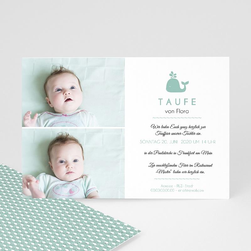 Einladungskarten Taufe für Mädchen Walfisch