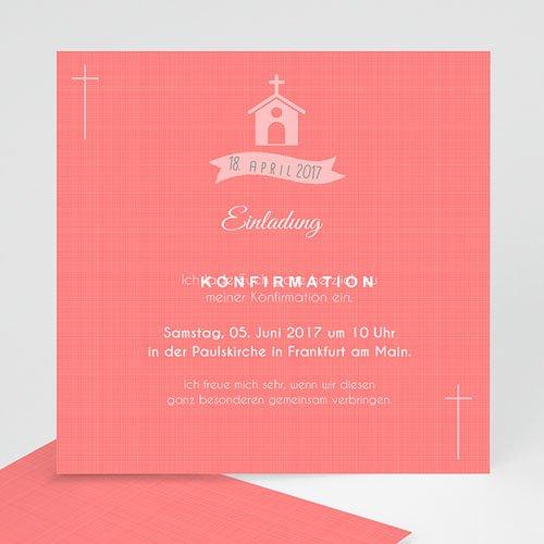 Einladungskarten Konfirmation - Kirche und Banderole 40577 thumb